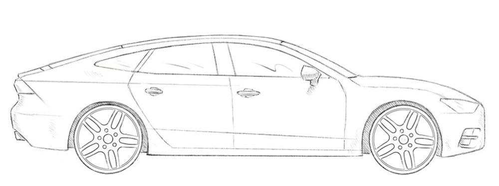 Как нарисовать автомобиль Audi A7