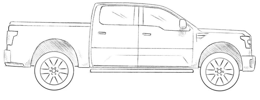 Как нарисовать пикап Ford Tuscany