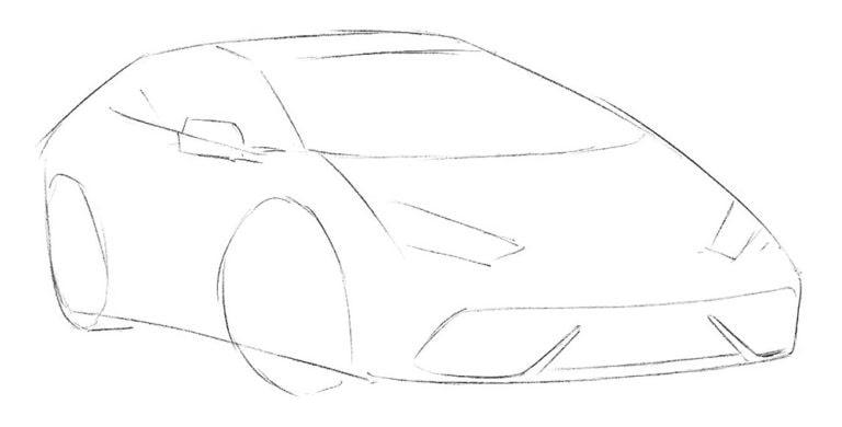 Как нарисовать спортивный автомобиль для начинающих