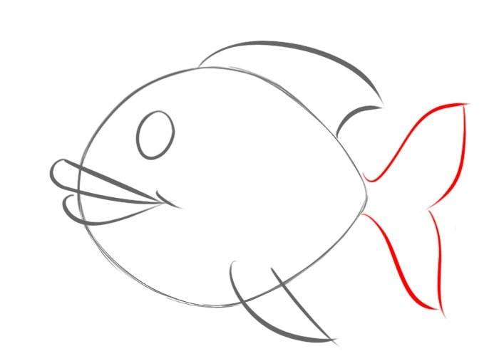 Как легко нарисовать рыбу