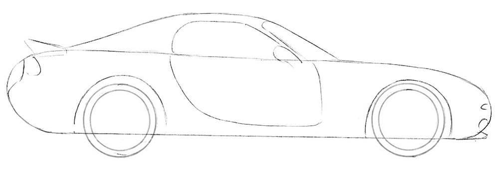 Как нарисовать спортивный автомобиль Mazda RX-7