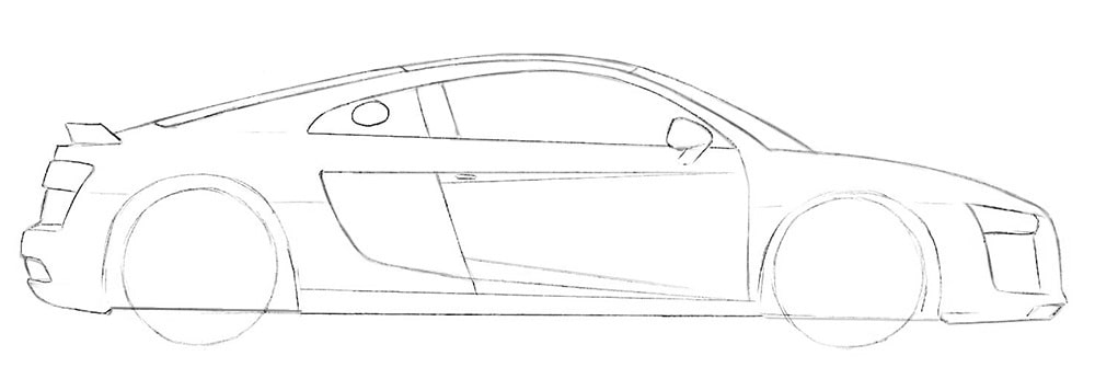 Как нарисовать автомобиль Audi R8