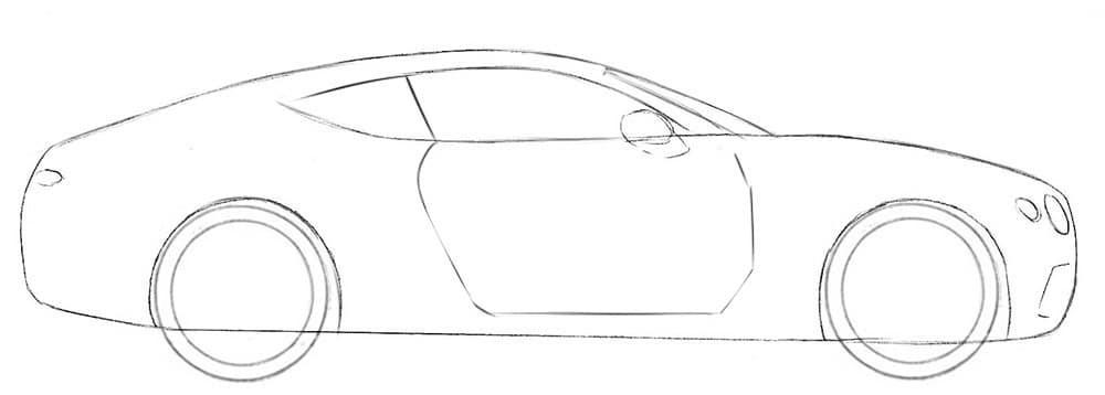 Как нарисовать автомобиль Bentley Continental GT