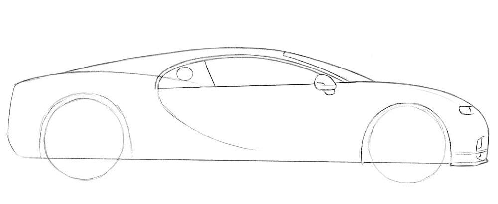 Как нарисовать автомобиль Bugatti Chiron