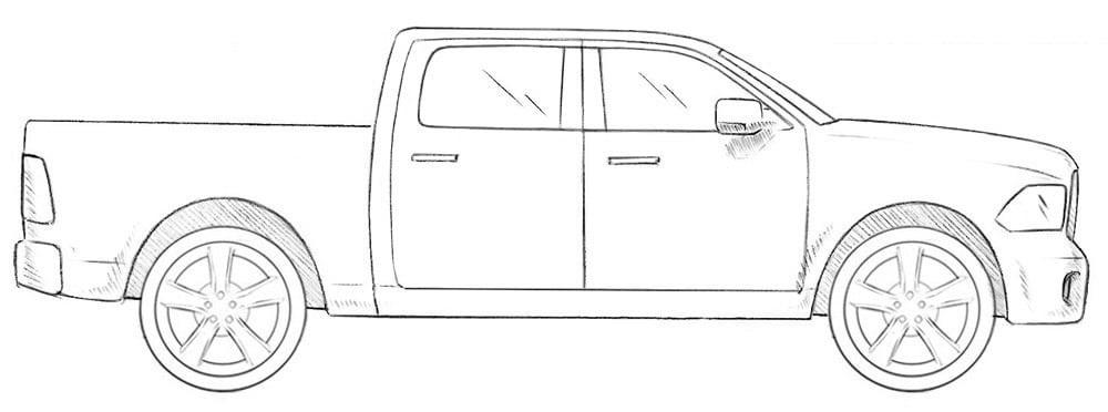 Как нарисовать грузовик Dodge