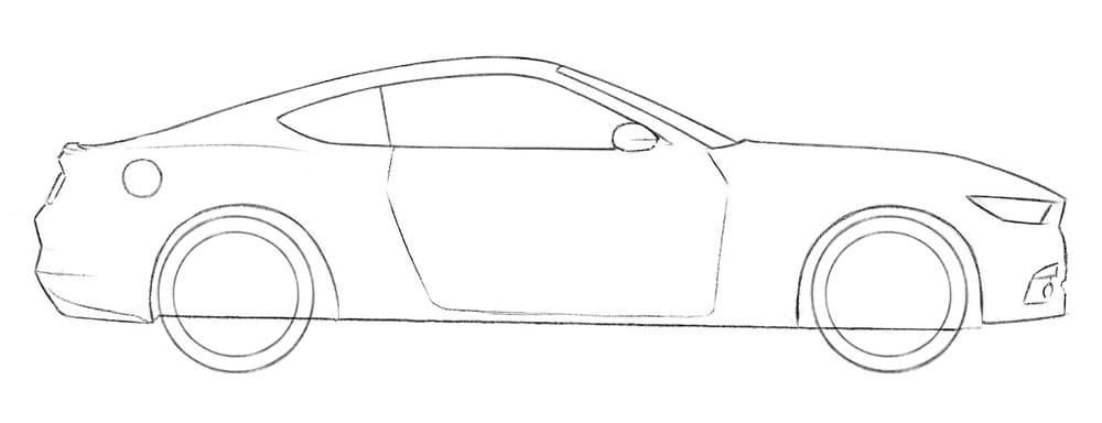 Как нарисовать автомобиль Ford Mustang