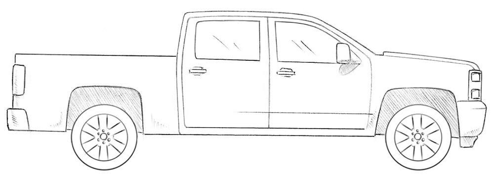 Как нарисовать пикап Chevrolet