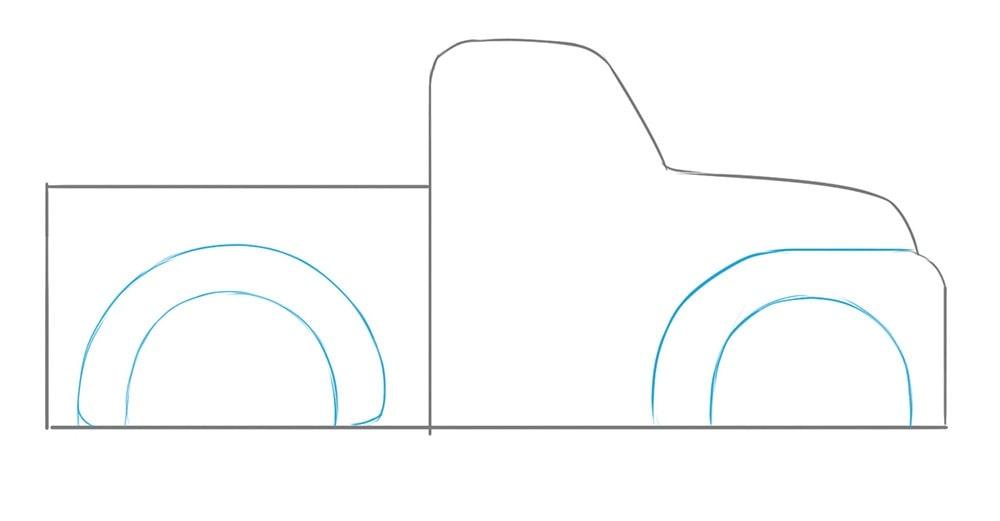 Как нарисовать грузовой пикап для детей