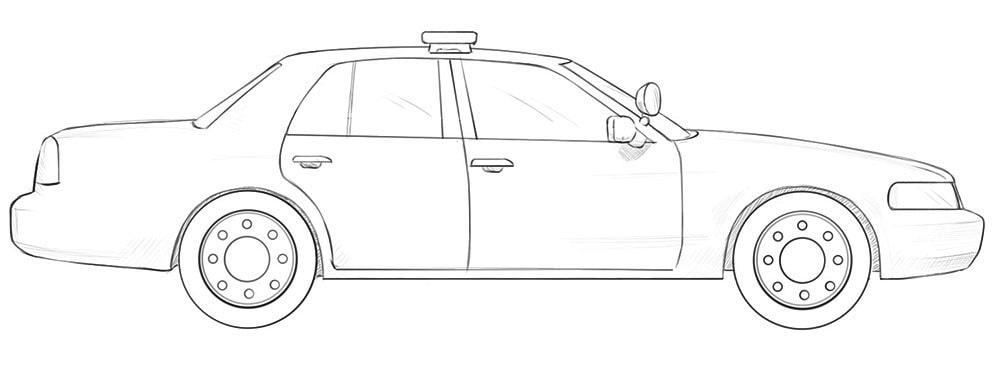 Как нарисовать американскую полицейскую машину Ford Crown Victoria