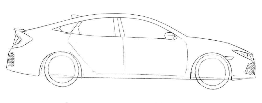 Как нарисовать автомобиль Honda Civic