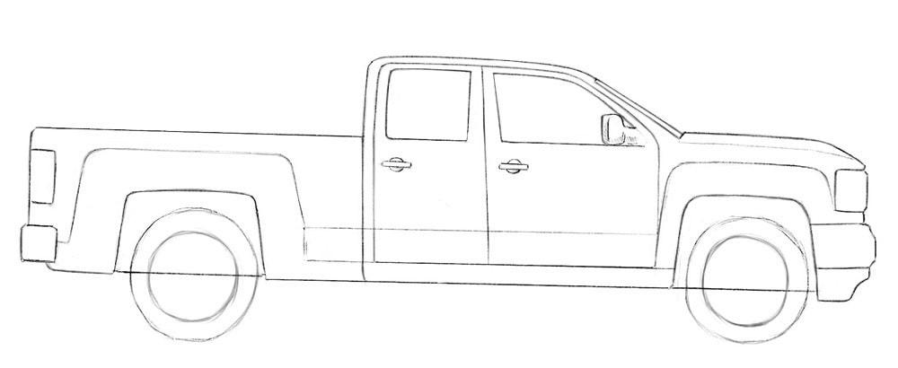 Как нарисовать пикап GMC Sierra
