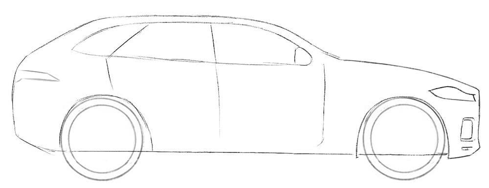 Как нарисовать кроссовер Jaguar F-Pace