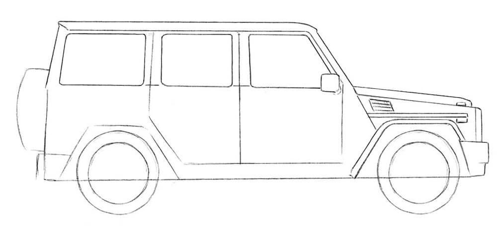 Как нарисовать Mercedes-Benz G-Class