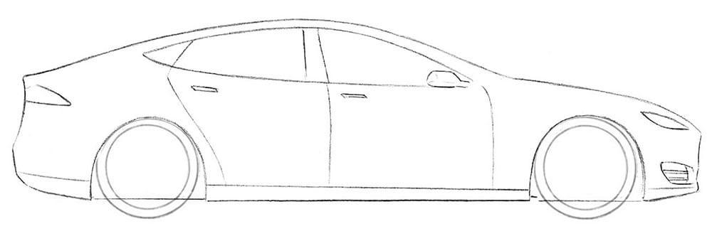Как нарисовать Tesla Model S