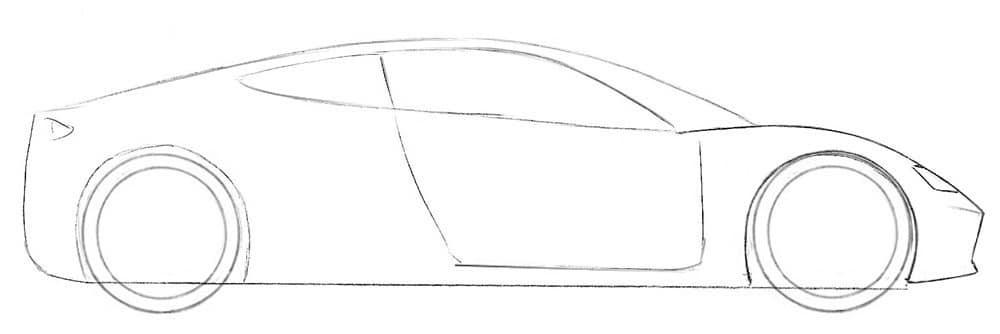Как нарисовать родстер Tesla