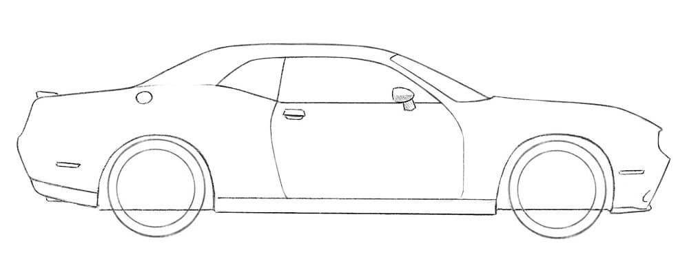 Как нарисовать автомобиль Dodge Challenger