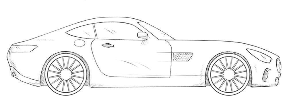 Как нарисовать Mercedes-AMG GT
