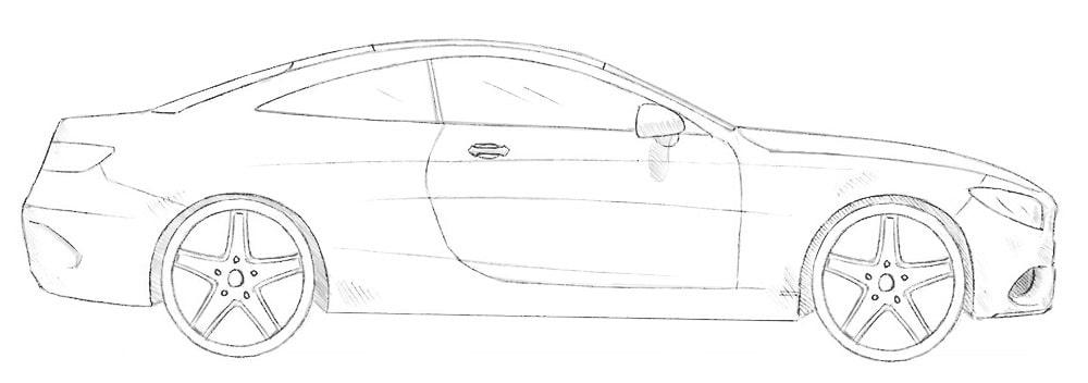 Как нарисовать Mercedes-Benz S Coupe