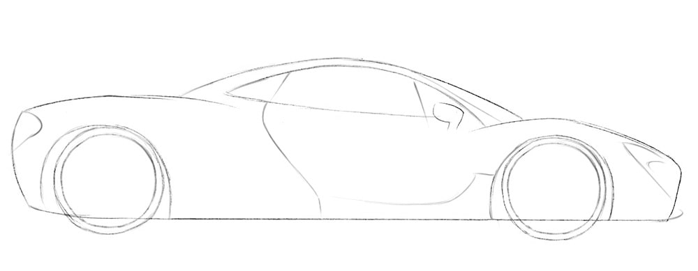 Как нарисовать гоночный автомобиль Макларен P1