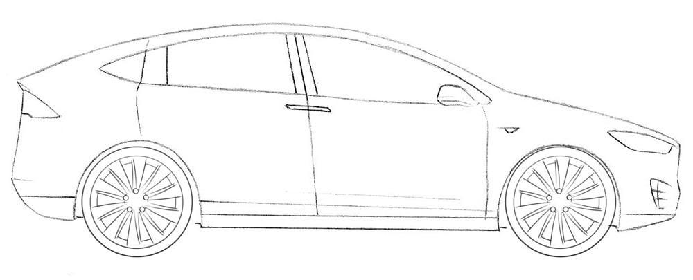 Как нарисовать Tesla Model X