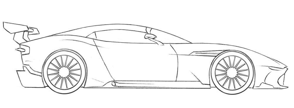 Как нарисовать гоночную машину Aston Martin Vulcan