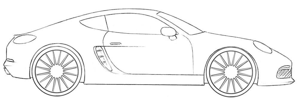 Как нарисовать спортивный автомобиль Porsche
