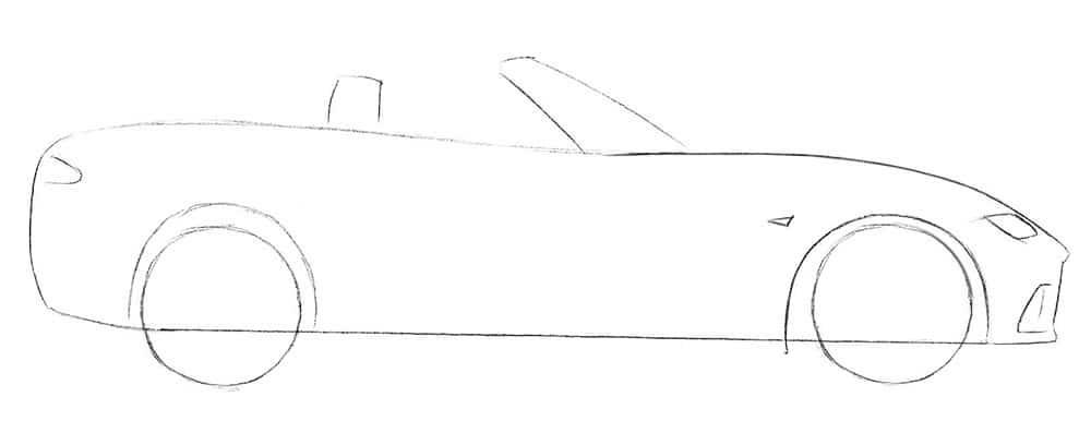 Как нарисовать автомобиль Mazda MX-5