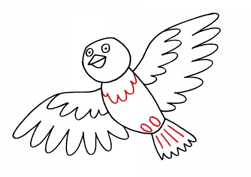 Как нарисовать мультяшного голубя для детей