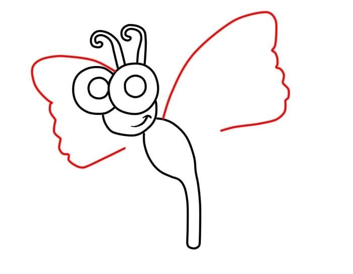 Как нарисовать мультяшную бабочку для детей