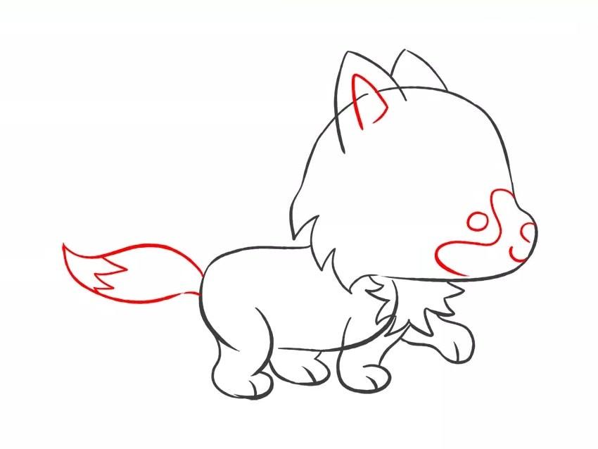 Как нарисовать мультяшного волчонка для детей